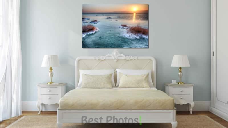 זריחה בים המלח בחדר שינה - תמונות למכירה לכל החדר הבית