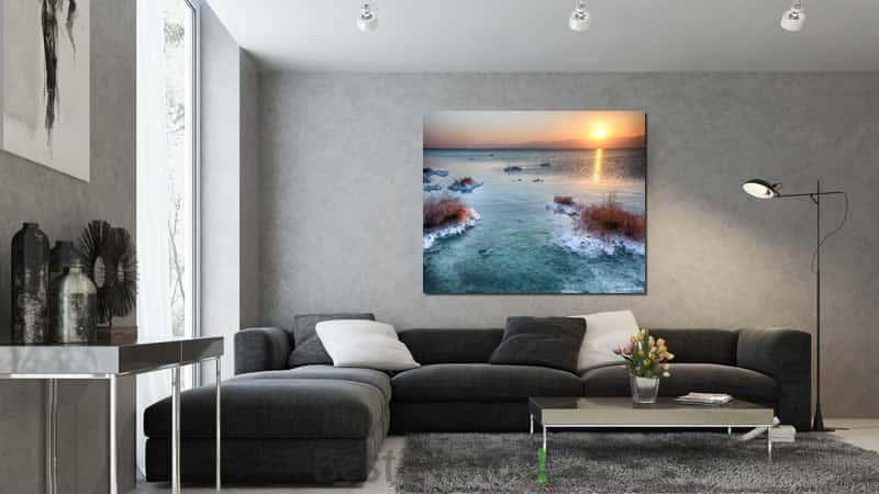 זריחה בים המלח בהדמיה בסלון מודרני ועוד שלל תמונות למכירה באתר