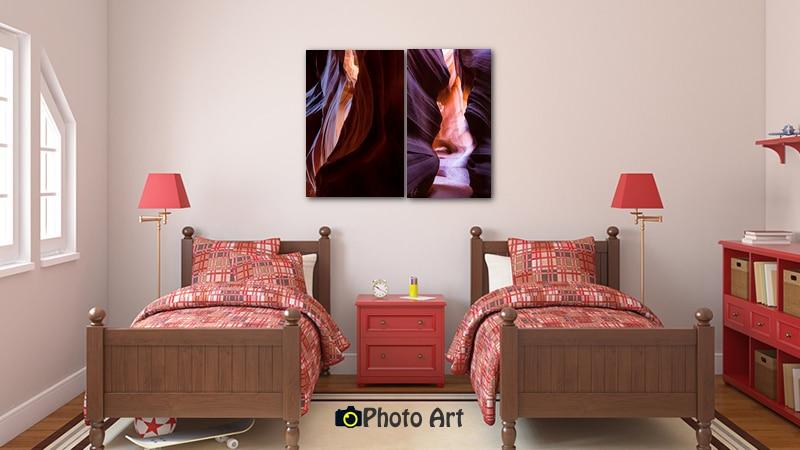 הדמיית צמד תמונות פיסול באבן על קיר חדר ילדים