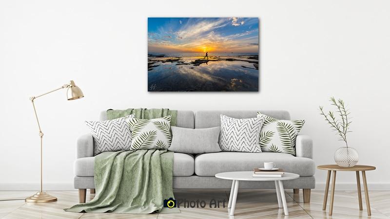 דייג בשקיעה בהדמיה כתמונה לבית ועוד מבחר תמונות לחדר שינה ולסלון