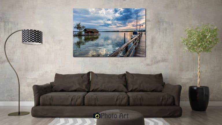 הדמיה של זריחה מהמזח ועוד מבחר תמונות לסלון מעוצב