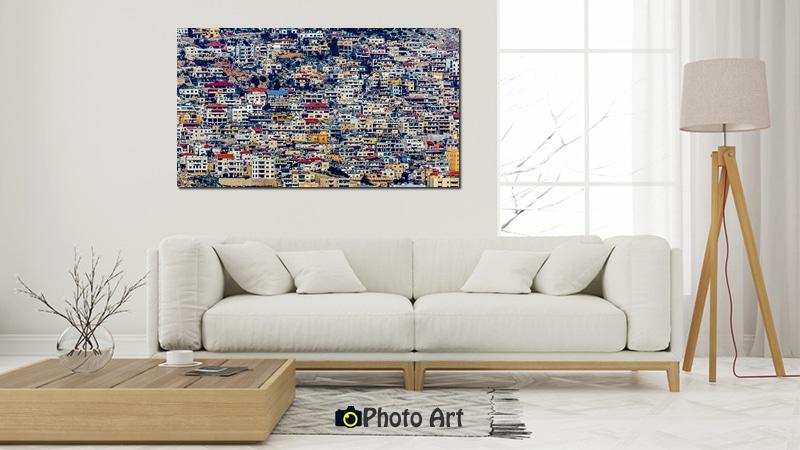 הדמיית תמונת נוף אורבני צבעוני על קנבס איכותי