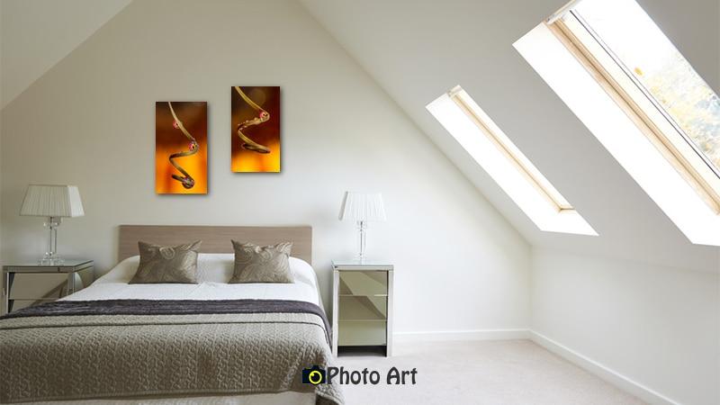 צמד תמונות לחדר שינה של טיפות גולשות מטה