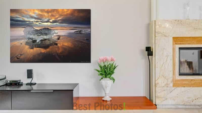 הדמיה של תמונת להבות הקרח ממבחר תמונות נוף למשרד