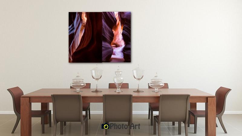 הדמיית זוג תמונות פיסול באבן על קיר פינת האוכל