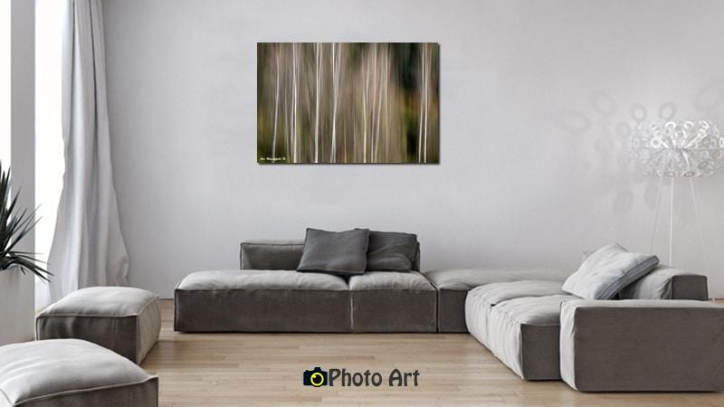 הדמיה של עצי הצפצפה כתמונה לסלון מודרני