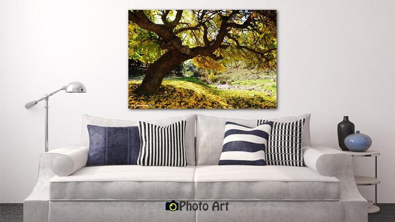 הדמיה של עץ צהוב כתמונת קיר לסלון בגוונים בהירים