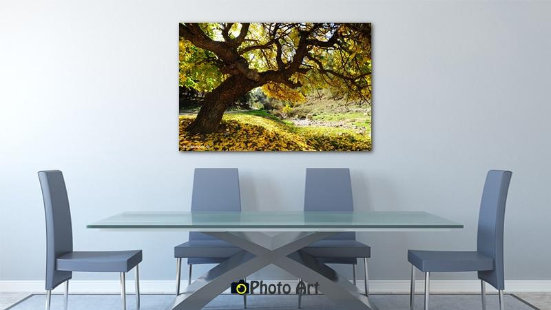 תמונת עץ צהוב בהדמיה כתמונה על קנבס