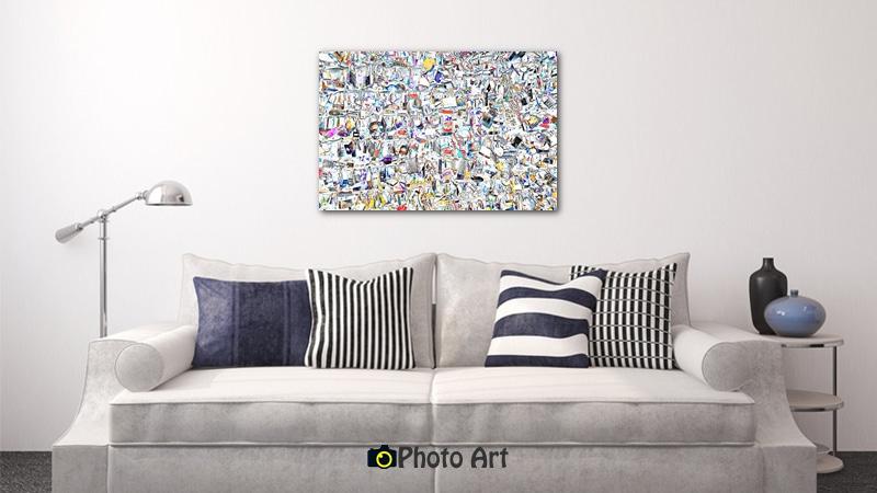 הדמיית תמונת מנעולים כתמונת קיר בסלון