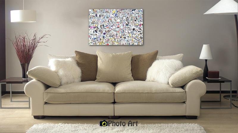 הדמיה בסלון מודרני של תמונת מנעולים