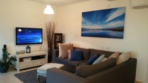 התמונה כחול בסלון ביתם של יוסי ונעמה