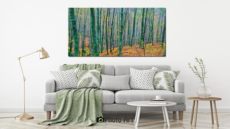הדמיה כתמונה בסלון של כל צבעי היער
