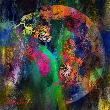 גלובוס צבעוני על רקע כהה עם נגיעות של צבעוניות חזקה ומתאר של צמחייה בסגנון אבסטרקטי. תמונה מלאת עוצמה המתאימה לחללים ציבוריים, לסלון בסגנון מודרני ולמשרדים וחדרי לובי של בניינים
