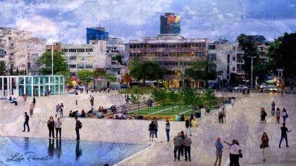 תמונה של כיכר הבימה תל אביב ממבחר תמונות לסלון בסגנון אורבני