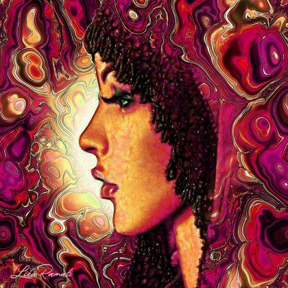 דמות אשה מסתורית בפרופיל. תמונה דרמטית עם צבעוניות חזקה באדום וסגול המתאימה לחדר שינה, סלון, מכון יופי או מספרה