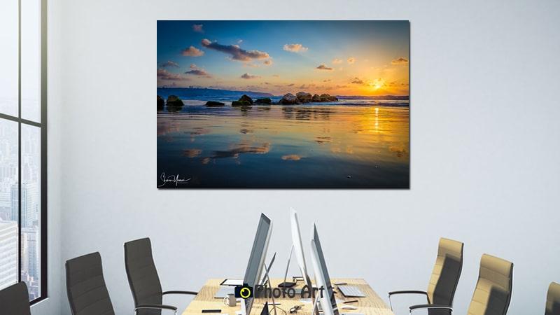 הדמיית תמונה למשרד של שקיעה מעל המפרץ