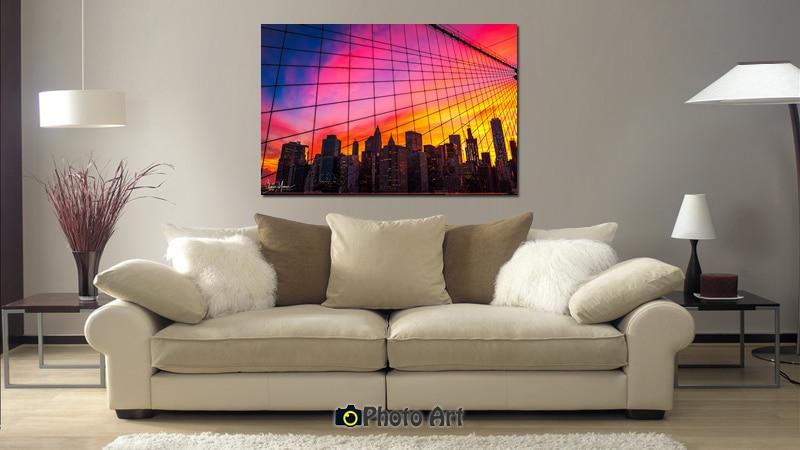 הדמיה של תמונת קנבס לסלון הנקראת שקיעה אדומה