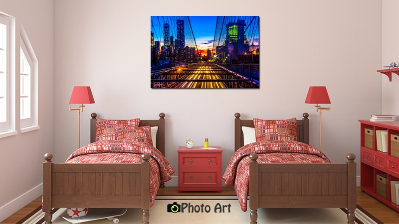 הדמיית תמונות לחדר ילדים - שקיעה מעל העיר
