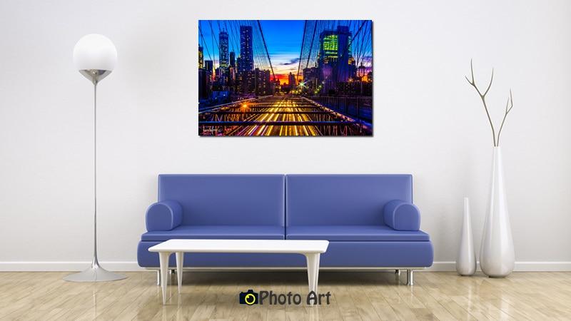 תמונה לסלון של שקיעה מעל העיר בהדמיה איכותית
