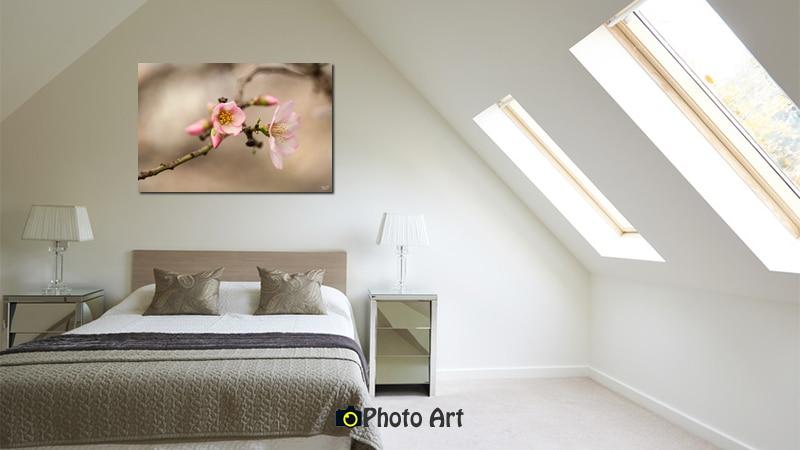 הדמיית תמונת פריחת שקד באור רך מתוך מבחר תמונות לחדר שינה