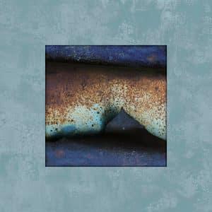 תמונת אבסטרקט מיוחדת של חלודה בכחול