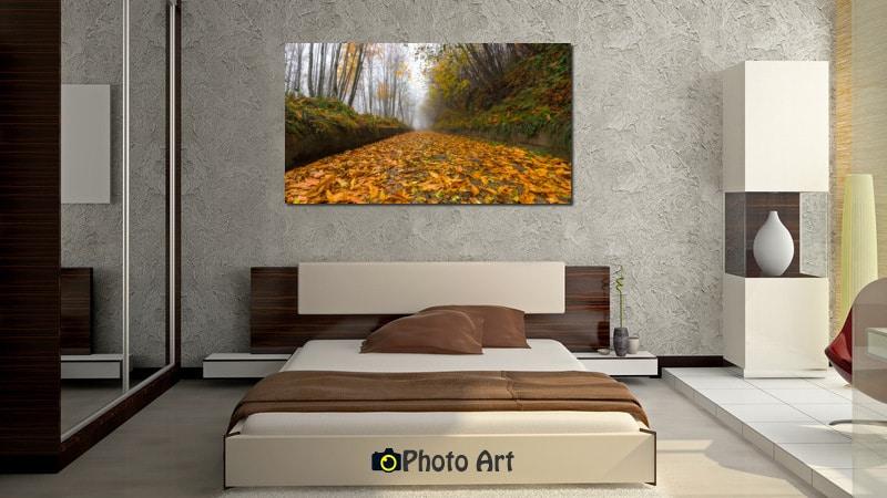 תמונת הדמיה בחדר השינה של תמונת זהב של סתיו מתוך אתר תמונות לבית