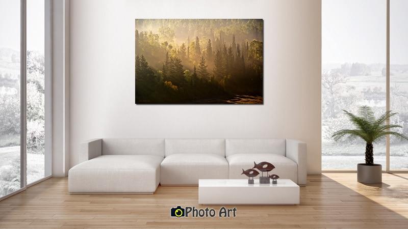הדמיה בסלון של תמונת ערפילים של זהב ועוד מגוון תמונות נוף יפות