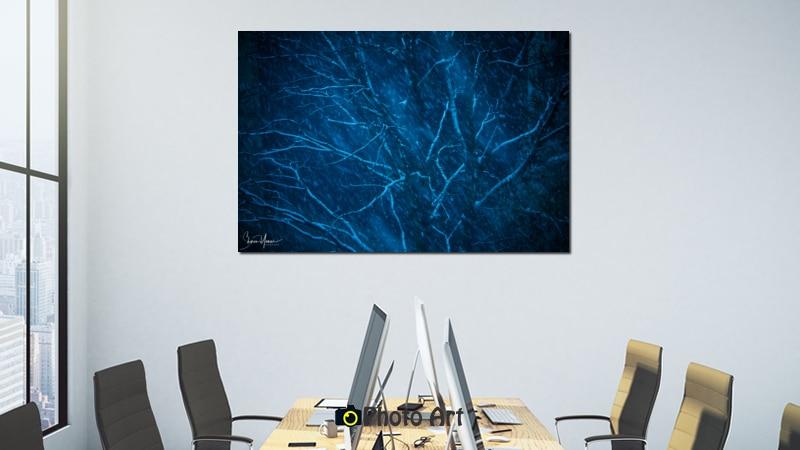 הדמיית תמונה למשרד של עץ כחול