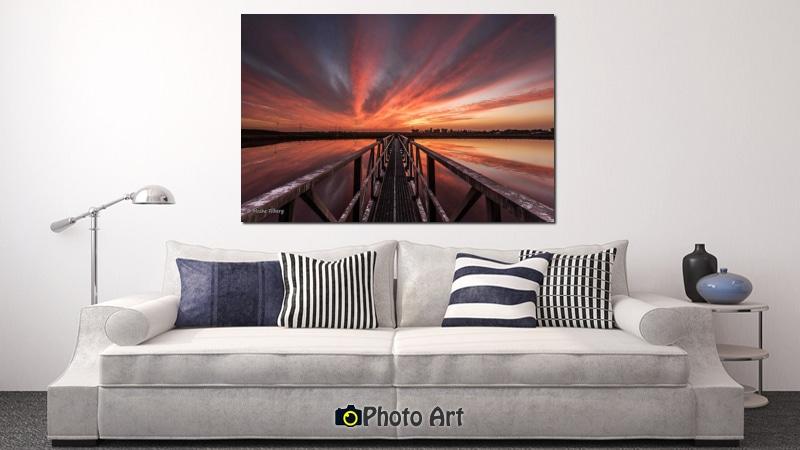 הדמיה של תמונת קנבס לסלון הגשר לשקיעה