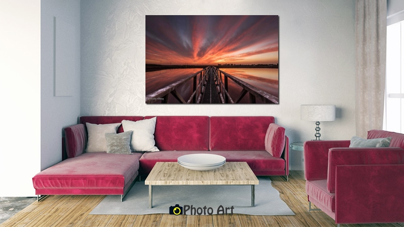 הדמיה של צילום הגשר לשקיעה בסלון בעיצוב קלאסי