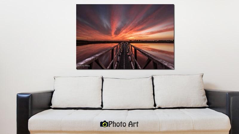 הדמיה של הגשר לשקיעה ועוד מבחר תמונות לסלון מודרני