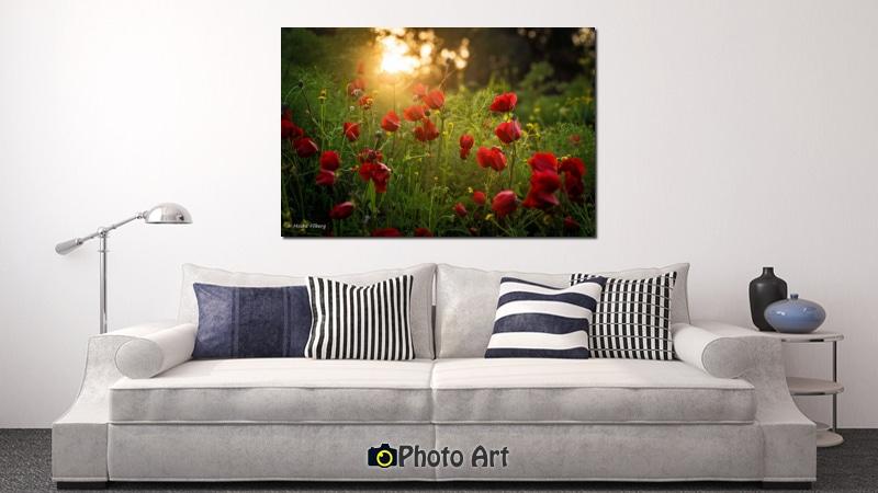 שקיעה אדומה שכזאת בהדמיה בסלון מודרני