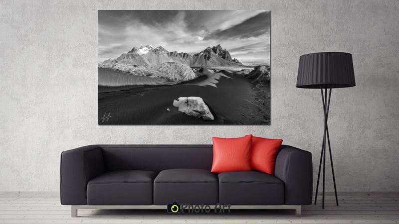 תמונת איסלנד בהדמיה בממדים גדולים על קיר סלון הבית