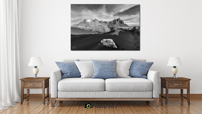 הדמיה של איסלנד כתמונה לסלון מודרני קלאסי
