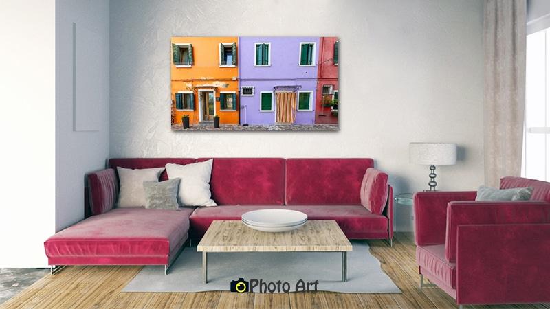 הדמיה של תמונה אורבנית סגול וכתום בבית