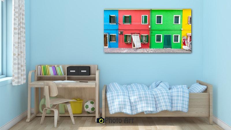 הדמיה של מגדל מקוביות כתמונה לחדר ילדים