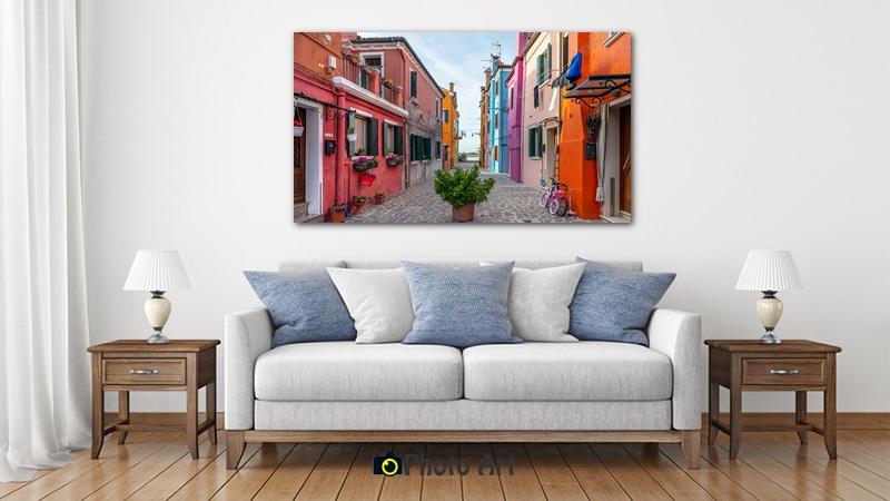 הדמיה של תמונת קנבס רחוב ללא מוצא בסלון