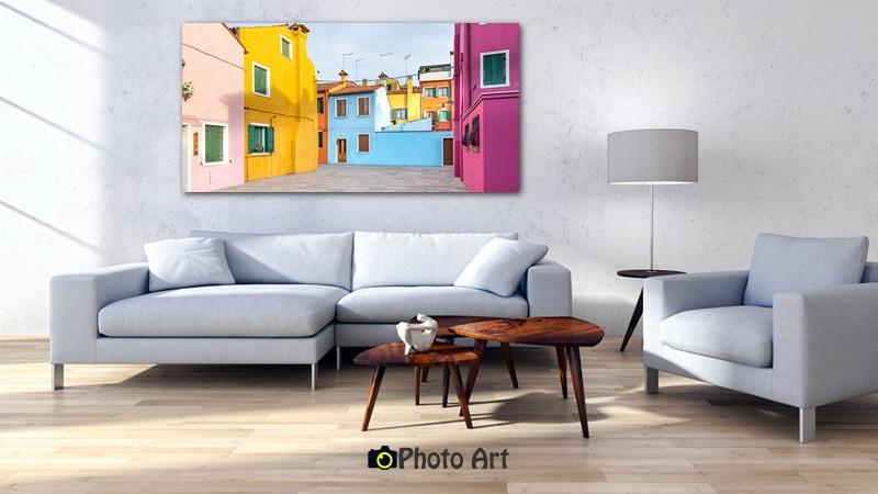 מבוך ססגוני בהדמיה כתמונה לסלון מודרני מונוכרומטי
